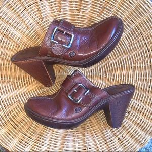 BORN Brown Leather Slide On Mule Boots